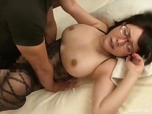 Japanese MILF in underthings gets a hardcore doggy style fuck