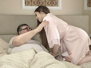 Spanish pale natural GF Diana Rius rides older man's stalwart cock