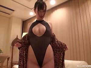 Oiled up busty Japanese battle-axe Saitou Miyu fondled beside lingerie