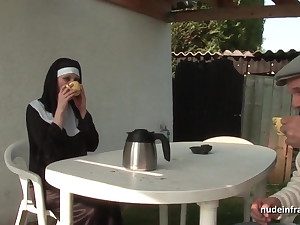 Young french nun sodomized in the matter of threesome with Papy Voyeur