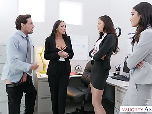Two babes mishandle Ariana Marie sucking co-worker's dick in be passed on election