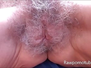 Mature granny with saggy tits gets her hairy pussy pounded hardcore