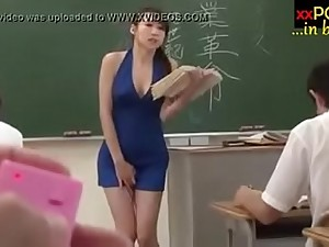 Mouldy Japanese teacher holds a lesson on touching a vibrator in her panties
