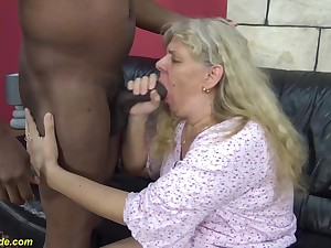 chubby 74 years old granny enjoys her first rough interracial obese cock fucking