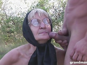 Blonde granny with glasses pounded increased by cum sprayed outdoors