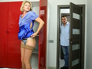 Blond cougar Diana Gold is having sex fun at hand young coxcomb living nextdoor