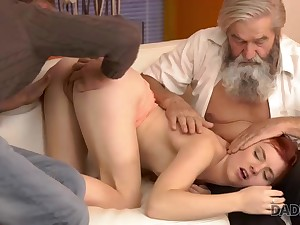 Superannuated man and his young son portion comely juicy pussy