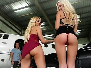 Blonde bitches fucked hard on a private jet