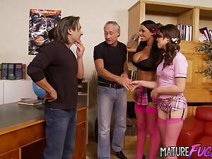 Cute Teen Tiffany Doll and Busty Kerry Louise Have sex One Old Females