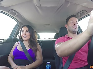 Curvy brunette MILF Candy rides a cock with say no to ass in the car