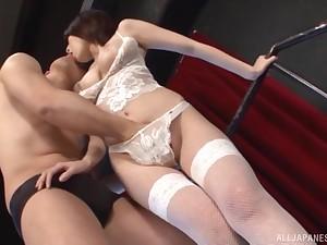 Japanese babe in erotic white lingerie Takamiya Yui rides her husband
