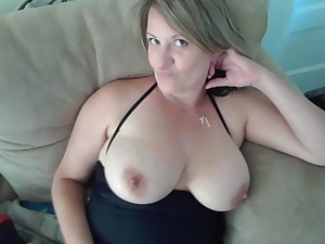 Frying blonde milf loves sucking on her nipples