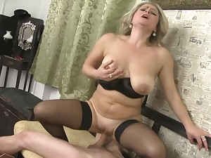 Slowly striping MILF Rachel Gold fills her slutty indiscretion with cock
