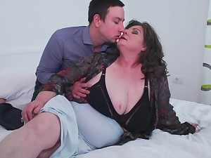 Matured busty BBW Jana gets her fat ass pounded from behind