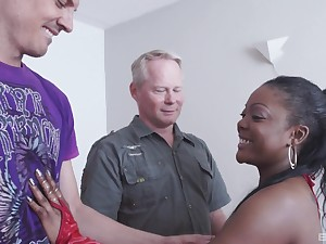 Hardcore interracial MMF threesome with frowning Raylene getting stuffed