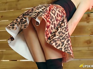 Have a discern horny upskirt solo show performed by Tina Kay with nice twat