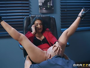 Secretary Katana Kombat stayed late to swallow her boss's load