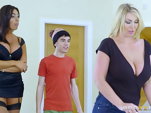 A young guy fucks his step-mother and her sexy dyke friend Ava