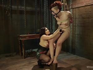 Enslaved girl endures mistress's brutal fisting and toy making out