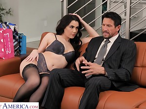 Ambrosial young wifey Valentina Nappi seduces old husband