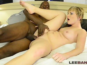 Short-haired MILF interracial sex video