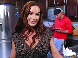 Resemble action in the kitchen after mommy strips nude