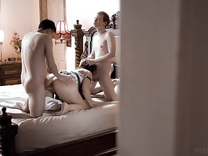 Despondent MILF stepmom has a threesome with her stepson and his best friend