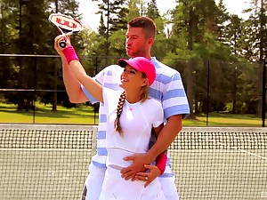 Titillating babe Kathy Rose enjoys acquiring fucked at bottom the tennis area