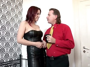 Leathered up Natalie Hot gets destroyed unconnected with an experienced dick